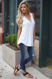 Solid Thick Strap Tank Criss Cross V Neck Cuffed Jeans Flat
