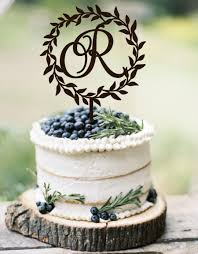 Wedding Cake Topper Wreath Monogram Rustic Initial Wooden Silver Gold Toper