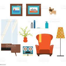 wohnzimmer isolierte objekte im stil der 70er jahre stock vektor und mehr bilder ast pflanzenbestandteil