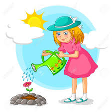 Girl Watering A Flower In The Garden Royalty Free Cliparts