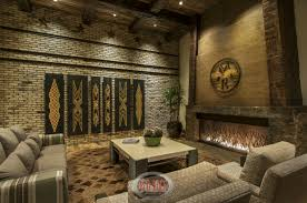 This View Of The Family Room Showcases Fabulous Brick Wall And Wide Fireplace