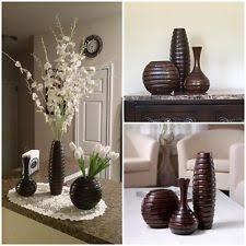 Set Of 3 Wood Vases Home Decor Modern Flower Indoor Kitchen Bathroom Living Room