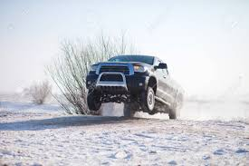 100 Truck Jumping Black Traveling In The Snow And Stock Photo Picture