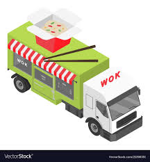 100 Shop Truck Wok Shop Truck Icon Isometric Style Royalty Free Vector