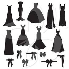 Wedding Dress clipart black and white 5