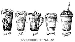 Vector Vintage Hand Drawn Illustration Of Different Types Coffee Drinks Iced Latte
