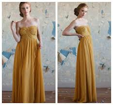 A Gold Long Bridesmaid Dress For Rustic Or Vintage Style Wedding