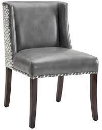 100 Black Leather Side Dining Chairs With Nailheads Belle Chair Suede