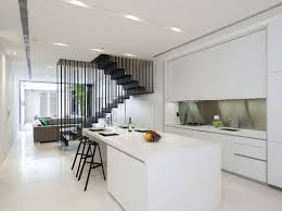 Home Decor Minimalist Kitchen Decorating Ideas For Small Interior With Sweet Staircase And White
