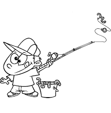 Fishing Boy With A Bucket Of Worms Holding Pole Coloring Pages