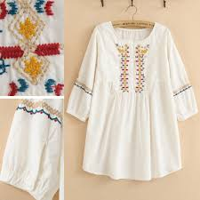 Vintage 70s Flower Embroidery Mori Girl MINI White Dress Hippie Summer Women Clothing Casual Puff Sleeve