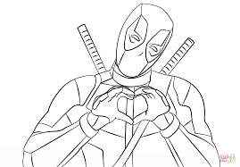 Click The Deadpool Making Heart Shape With Hands Coloring Pages