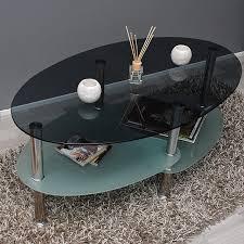 ts ideen glastisch couchtisch wohnzimmer oval 8 mm esg sicherheitsglas rauchglas