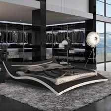 King Platform Bed With Leather Headboard by Seducce Modern Black Bed With Led Lighting Queen And King Ebay