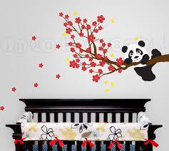 stickers panda chambre bébé sticker panda panda et branche de cerisier avec des