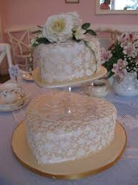 The Exclusive Cake Shop Vintage Tearoom Golden Wedding With Lace Overlay