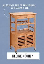 kleine küchen ein rollwagen sorgt für stauraum genau