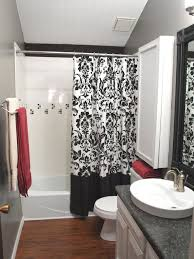 black and white and pink bathroom decor white stripped pattern