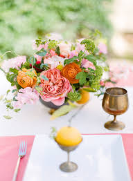 Coral Green And Orange Flowers For A Springtime Table By Kelly Oshiro Sbchic