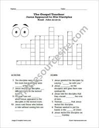Jesus Appears To His Disciples After The Resurrection Crossword Puzzle