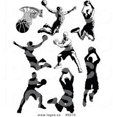 Royalty Free Vector of Logos of Black and White Male Basketball