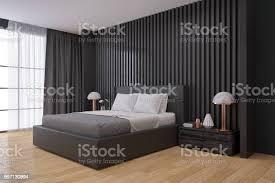 schwarze wand moderne schlafzimmerinnenarchitektur 3d render stockfoto und mehr bilder architektur