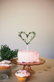So Simple And Pretty Thyme Heart Wedding Cake Topper Fun For A Boho Diy