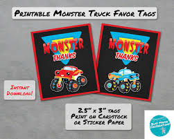 100 Monster Truck Theme Party Birthday Favor Tags INSTANT DOWNLOAD Cute
