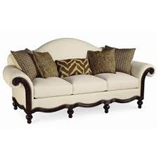 Pauline Camel Back Sofa with Wood Base by Thomasville Miller