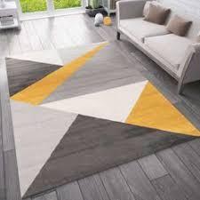teppich wohnzimmer schlafzimmer flur teppich geometrisches muster gelb