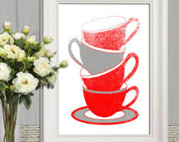 Red Kitchen Decor Prints Printable Wall Art Tea Cups Coffee