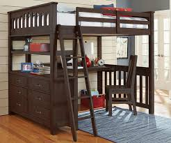 Full Size Loft Bed with Desk in Espresso finish