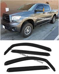 100 Truck Window Visors For 07UP Toyota Tundra Crew Max INCHANNEL Style Smoke Tinted JDM