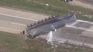100 Tanker Truck Crash Truck Dumps Milk Load In Rollover Crash I94 WB Reopens