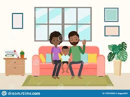 glückliche afrikanischen familie karikatur bleiben auf sofa