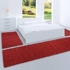 carpet city shaggy bettumrandung hochflor teppiche in rot bordeaux einfarbig für schlafzimmer 3 teiliges läufer set 2x 70x140 cm und 1x 70x250 cm