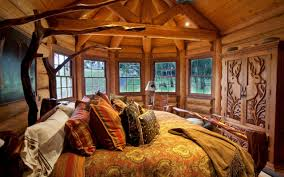 Divine Brown Cushions And Pillows Over Platform Bed As Well Sliding Glass Windows Decorate In Open Views Rustic Bedroom Ideas