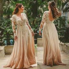 Lace And Chiffon Beach Boho Wedding Dresses Long Sleeve Rustic Bridal Gowns A Line Open