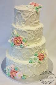 Rustic Buttercream Wedding Cake With Butterceam Flowers On Central