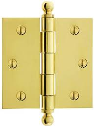 3 1 2 solid brass door hinge with ball finials in polished brass