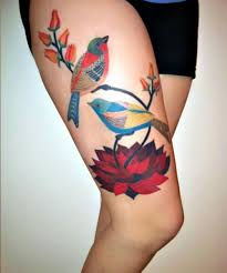 Elegant Bird Tattoo Gennine Art Thigh
