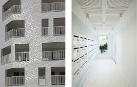 The Lobby Brings In Same White As Exterior Visitors And Residents Are Met By Polished Terrazzo Floors With Marble Chips Blue Speckles A Soft
