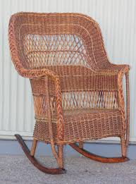 Antique Sea Grass And Wicker Rocker With Custom Cushion At ...