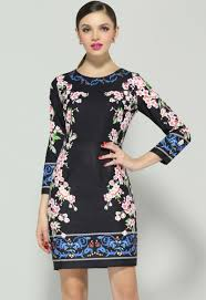 black long sleeve floral bodycon dress abaday com