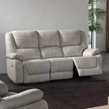 canapé 3 places relax electrique canapé 3 places relax électrique en tissu gris odessa canape relax