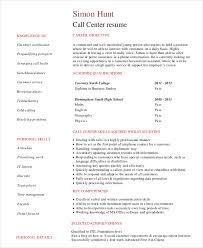 Student Call Center Resume Template Examples Pdf