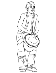 African Musician Playing Drum Coloring Page