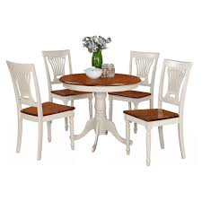 East West Furniture Antique 5 Piece Pedestal Round Dining Table Set With  Plainville Wooden Seat Chairs Hever Ding Table With 5 Chairs Bench Chelsea 5piece Round Package Aqua Drewing And Chair Set By Benchcraft Ashley At Royal Fniture Trudell Upholstered Side Signature Design Dunk Bright Lawson Piece Includes 4 Liberty Darvin Barzini Black Leatherette Coaster Value City Pc Kitchen Set A In Buttermilk Cherry East West The District Leaf Intercon Wayside Grindleburg Vesper Round Marble Ding Table Piece Set Brnan Amazoncom Tangkula Pcs Modern Tempered