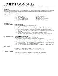Resume Automotive Mechanic Example Auto