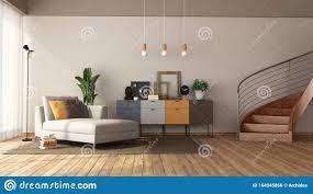 modernes wohnzimmer mit liegestuhl und treppe stock